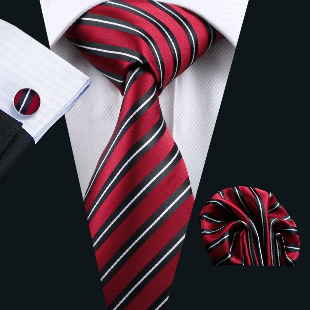Mens Classic Red Black Stripe Silk Tie Hankerchief Cufflinks Set Business Formal Work Party Tie Jacquard Woven N-0322