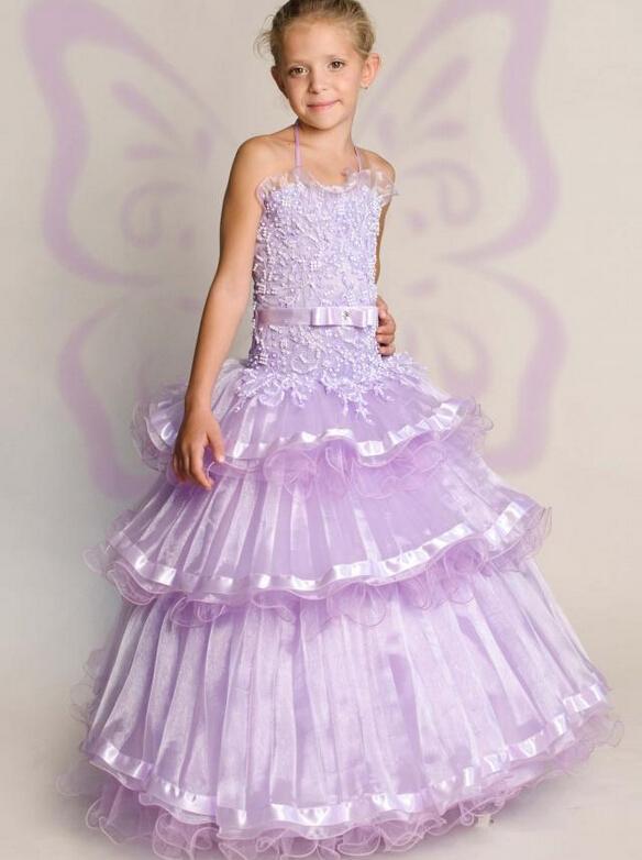 Halter Beading Sash Ruffle Organza vestido de Baile Vestidos de Festa de Aniversário Do Bebê Da Menina de Natal Crianças Menina Vestidos de Festa Vestidos Da Menina de Flor