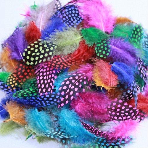 500Pcs / Lot 5-12CM 기니 가금 깃털 혼합 색 공예 깃털 도매 도매