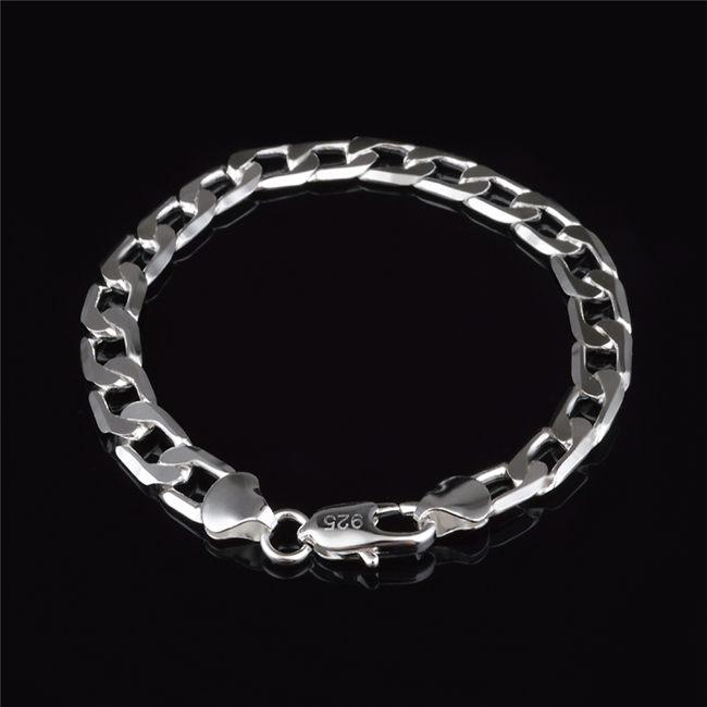 Top quality 8MM 925 Sterling silver plated Figaro chain bracelet Fashion Men's Jewelry Factory price free shipping
