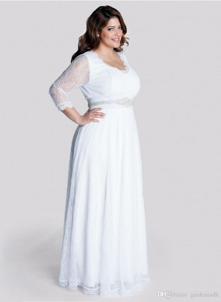 plus size long sleeve wedding gowns floor length white lace