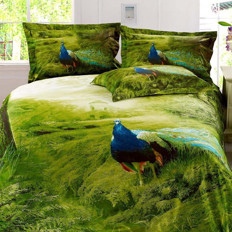 Beauty Peacock Oil Painting Bed Duvet Cover Flat Sheet Pillow Shams  4/Egyptian Cotton Queen ...