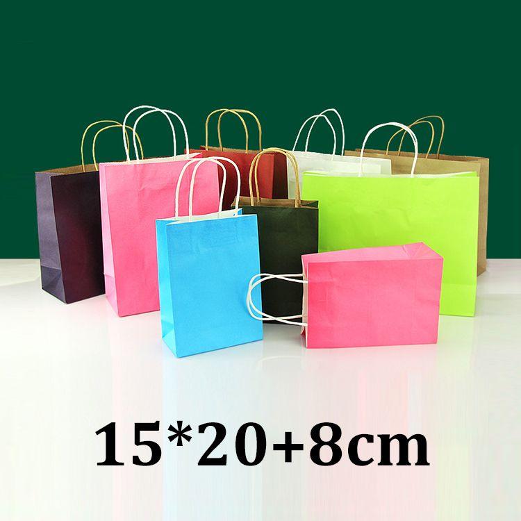 15 cm * 20 cm 15x20 cm umweltfreundliche einkaufs kleidungsstück kleidung grün cyan rosa kraftpapier tasche gestanzt griff