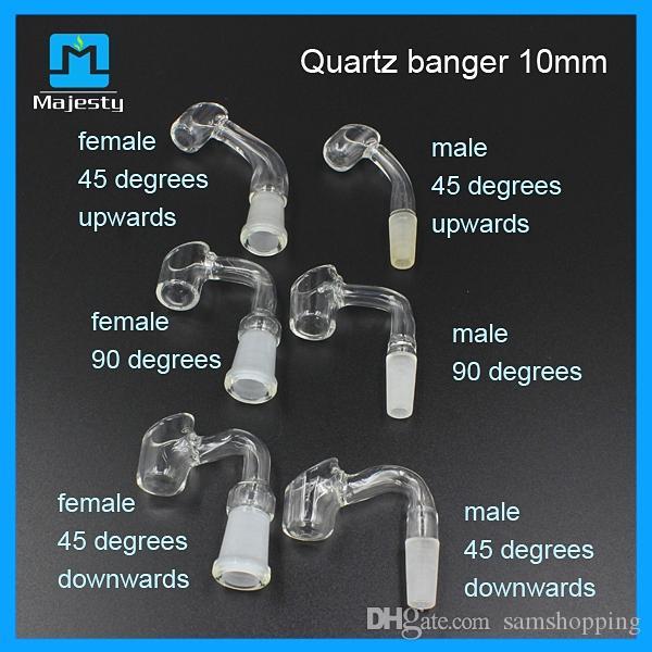 Yüksek Kalite 4mm kalın kuvars banger tırnak 45 ve 90 derece 14mm / 18mm erkek / kadın ortak satmak fabrika fiyat