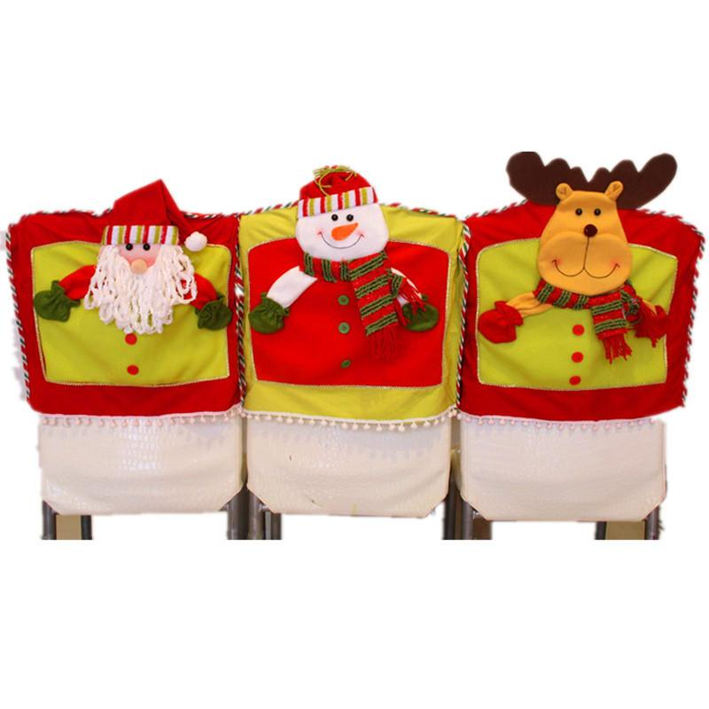 10Pcs/Lot Santa Clause/Elk/Snowman Red Chair Cover Chair Back Cover Christmas Dinner Table Party Decor For Christmas 42*47cm Free Shipping