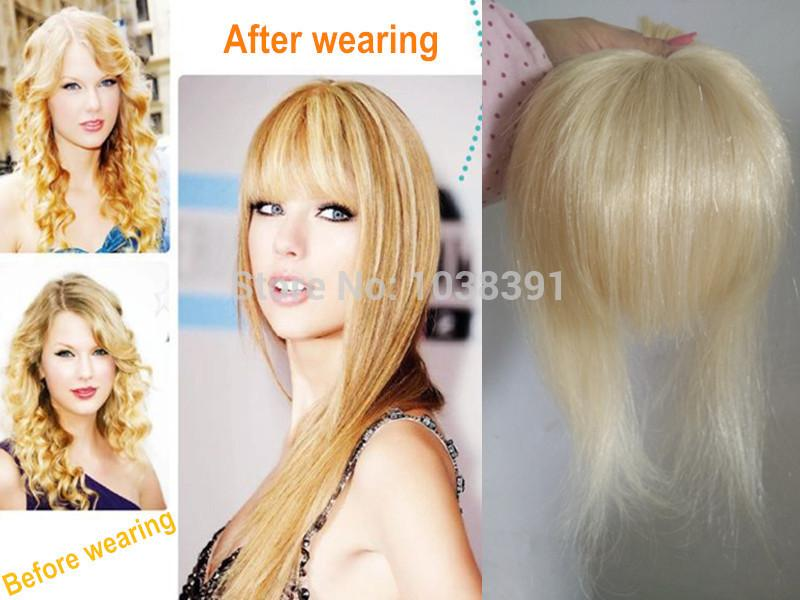Clip In Bangs Fringe Extensions Blonde Hair Centers Simulation Scalp With Hand Woven 35g 613 2018 From Tp243403207