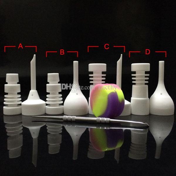 DHL Free Bong Set di strumenti in vetro 14mm 18mm Chiodo in ceramica maschio o femmina con tappo in carb Dabber Strumento Slicone Container per tubo di vetro