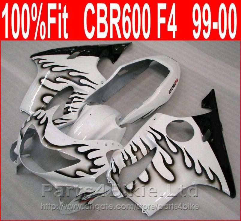NEW Black flame in white motorcycle fairings for Honda fairing kit CBR600 F4 CBR 600 F4 1999 2000 bodywork XEJI