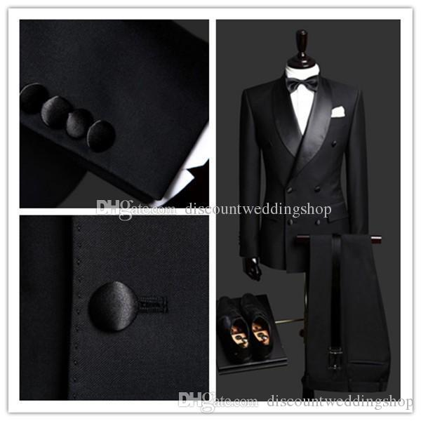 Spalline laterali doppio petto Smoking dello sposo nero Scial risvolto Groomsmen Best Man Abiti da uomo Matrimonio Prom (giacca + pantaloni + cintura + cravatta) NO: 2599