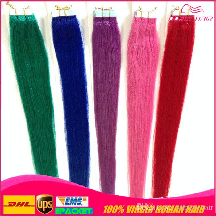 colorized tape hair extension straight remy Tape Hair Extensions Strong Tape Adhesive 20pcs lot Tape hair extensions free shipping epacked