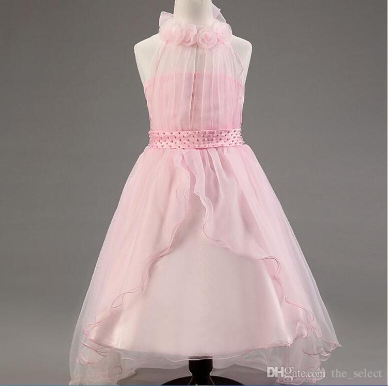 새벽 겨울 긴 꼬리 층 길이 아이보리 레이스 꽃 소녀 드레스 5 색 여자 들러리 드레스