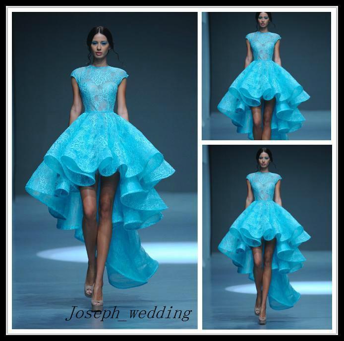 Envío gratis Vintage Lace High Low Michael Cinco vestidos de noche con cuello alto transparente Ver a través de Hi Lo Falda vestido de novia corto
