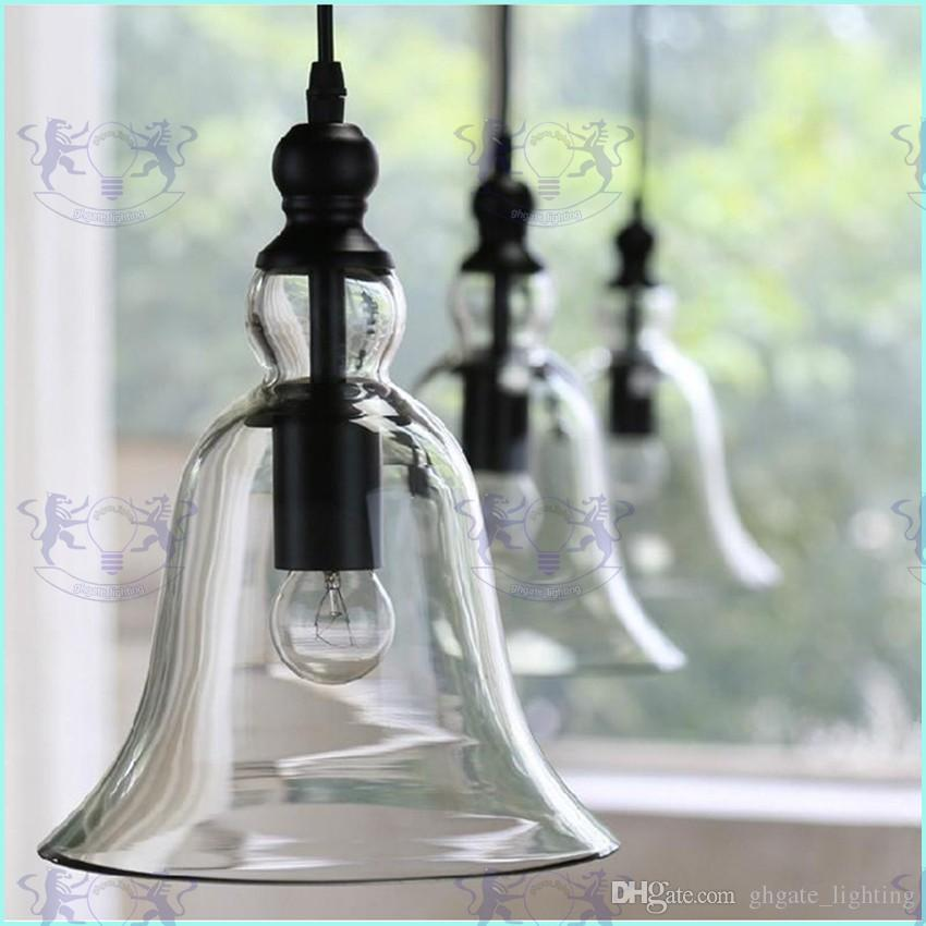 New Antique Vintage Style Glass Shade Ceiling Light Bell Pendant Light European Retro Chandelier Glass Pendant Lamps Glass Pendant Lights Ceiling