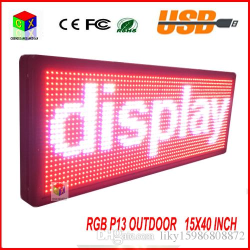"""LED Sign 40/"""" X 15/"""" Outdoor Programmable Scroll Message Board 3 Color neon RGY"""