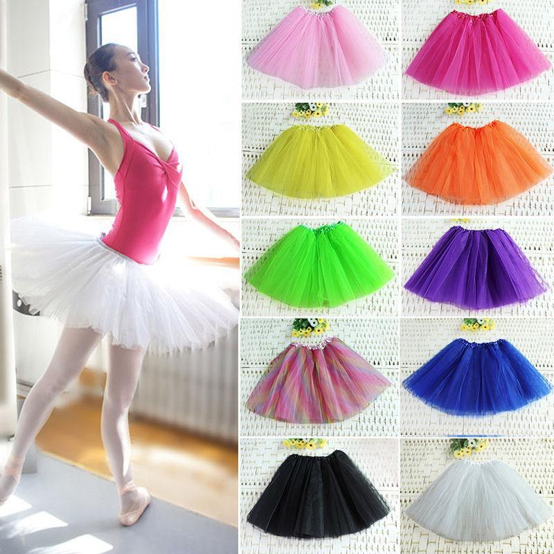 뉴 컬러 티셔츠 성인 발레 스커트 댄스 3 레이어 Ladies Tutus 미니 셔츠 무료 배송