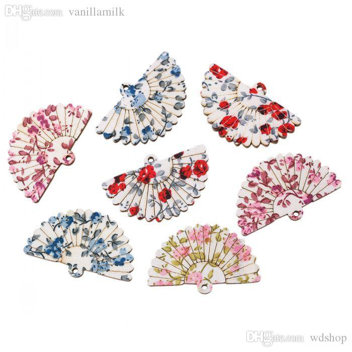 Wholesale-Dorabeads Wood Charm Pendants Fan Mixed Flower Pattern 4.9cm x 3.1cm,30 PCs