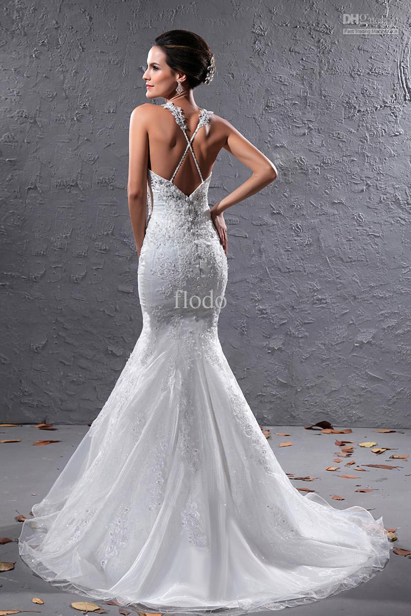 Vintage backless lace mermaid wedding dresses ivory organza criss short description spaghetti staps mermaid wedding dresses ombrellifo Images