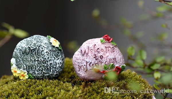 4pcs lettere di benvenuto al mio giardino in pietra micro paesaggio succulente ornamenti in resina mestiere fata giardino arredamento fai da te