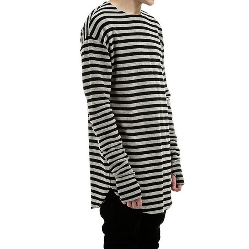 2016 Men t shirts tyga hip hop swag striped long sleeve t shirt extended kanye west men oversized tee shirt homme t shirt men (1)