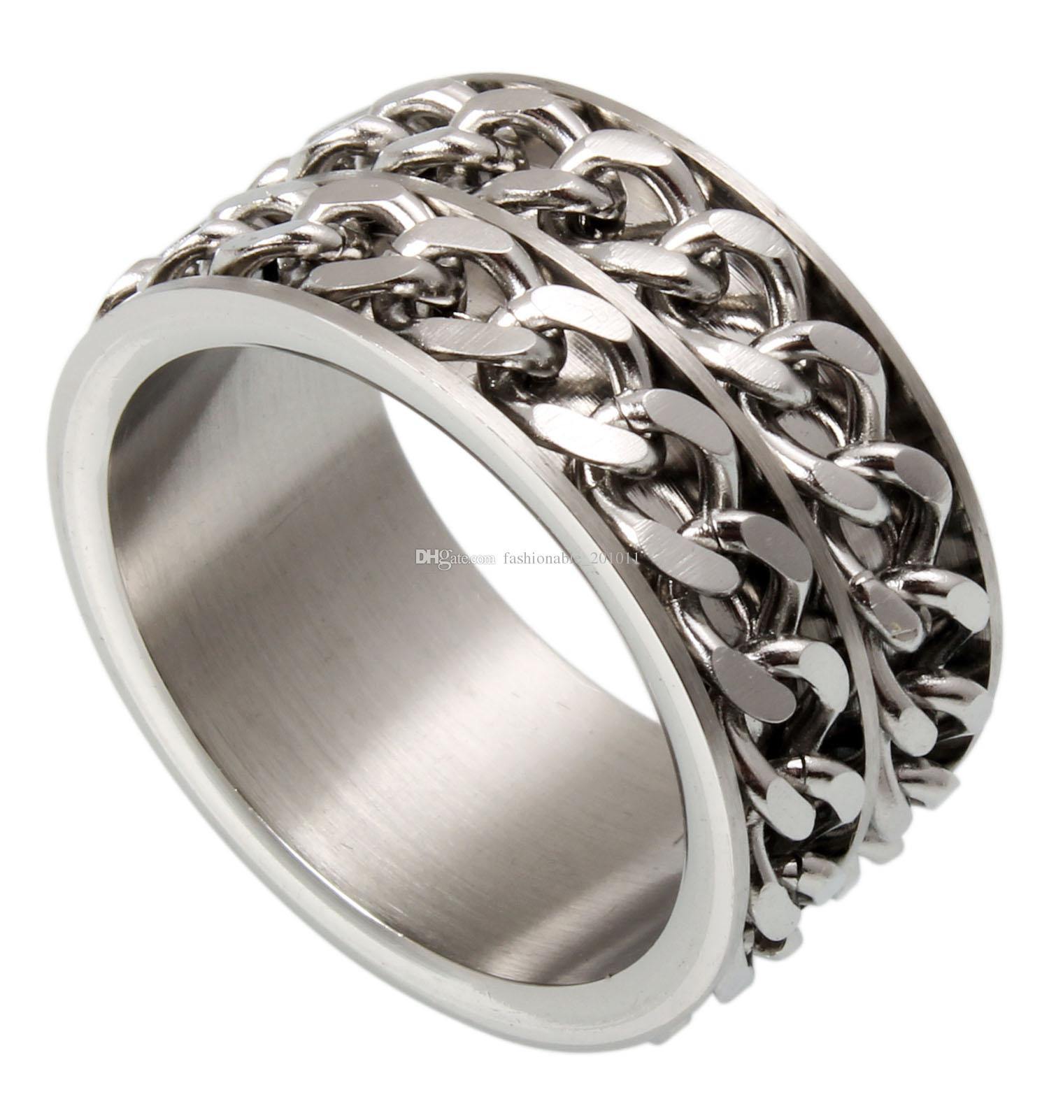 12mm Stainless Steel 2 Rows Rolling Chain Link Spinner Ring Sizes 7.75 to 13.9