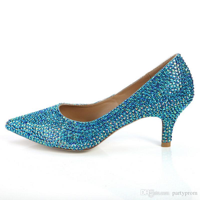 Pointed Toe Rhinestone Cinderella Pumps Blue Rhinestone Wedding Dress Shoes Prom Party Formal Dress Shoes Crystal Women Shoes