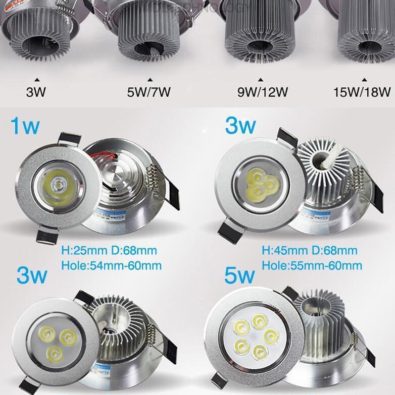 الصمام النازل السقف 3W 4W 5W 7W 9W 12W 15W راحة الصمام ضوء دوونلايتس عكس الضوء الصمام أسفل الأنوار مصابيح الدافئة الأبيض 110-240V