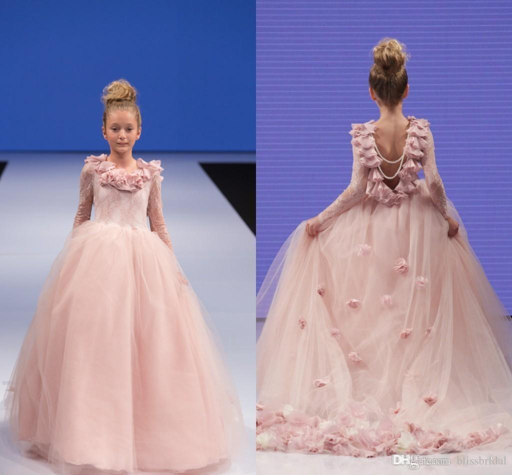 Backless Junior Long Sleeves Lace Blush Pink Flower Girl Dresses Ruffles 3D fLORAL Hand Made Floral Pearls Beading Pageant Prom Gowns