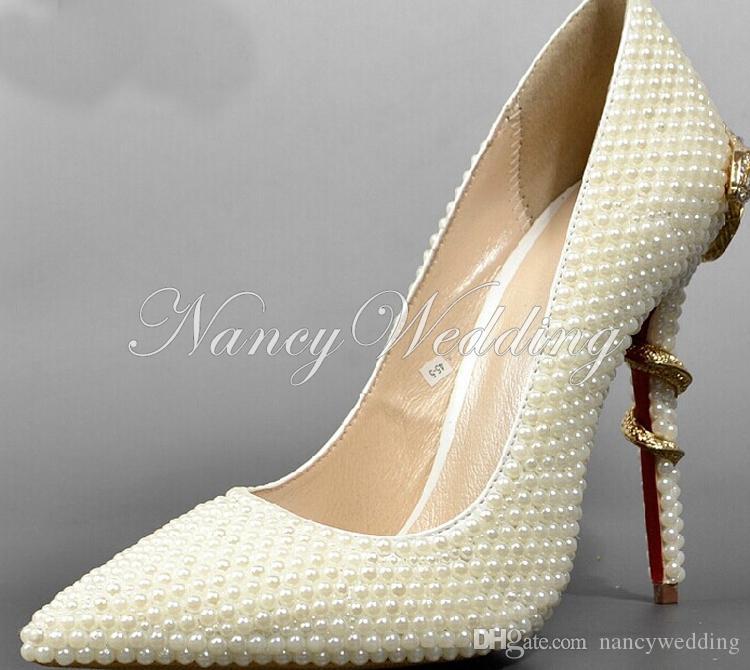 Szpilczy toe Ivory Pearl Wedding Bridal Lady Wysokie Obcasy Seksowna Kobieta Sukienka Buty Prom Super Heeled Buty Dancing Moda Buty