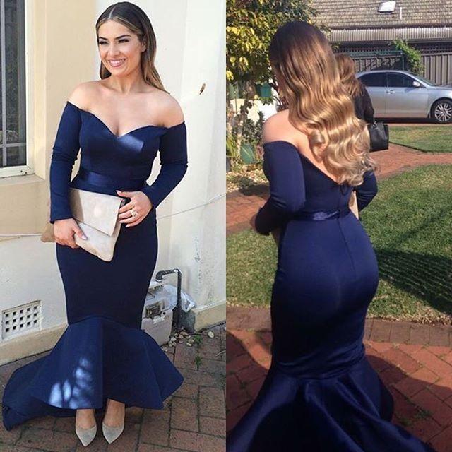 Vestidos de noche nuevos de la gasa Meramid del tamaño extra grande de 2016 azul marino atractivos Robe de soirée sin espalda en hombros de las mangas largas Vestidos de baile bajo alto