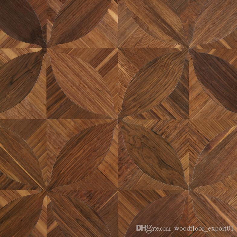 Black walnut hardwood flooring multi-layer engineered wood floor marquetry leaf designed parquet tile border wallpaper art deco wall cladding mosaic backdrops