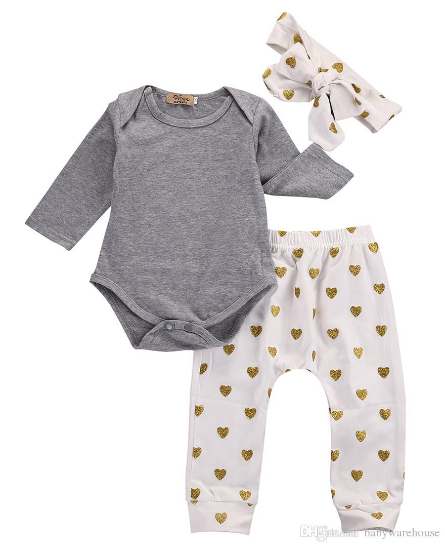 Newborn Baby Girls Clothes Long Sleeve Cotton Romper Gold Heart Pants Headband 3PCS Outfits Toddler Kids Clothing Set Boutique Girls Set