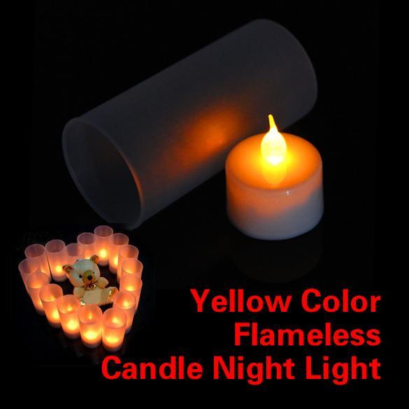 LED Elektronische Flammenlose Schalter Kerze Gelbe Farbe Nachtlicht Mit Tasse Stimmung Lampe Decor Spielzeug Förderung Freies Verschiffen PEPU
