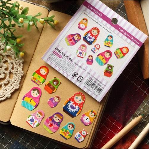 Livraison gratuite / nouvelle série Matryoshka autocollant / Japon mw poupée russe autocollant sac paquet / étiquette de décoration, 70pcs / sac, dandys
