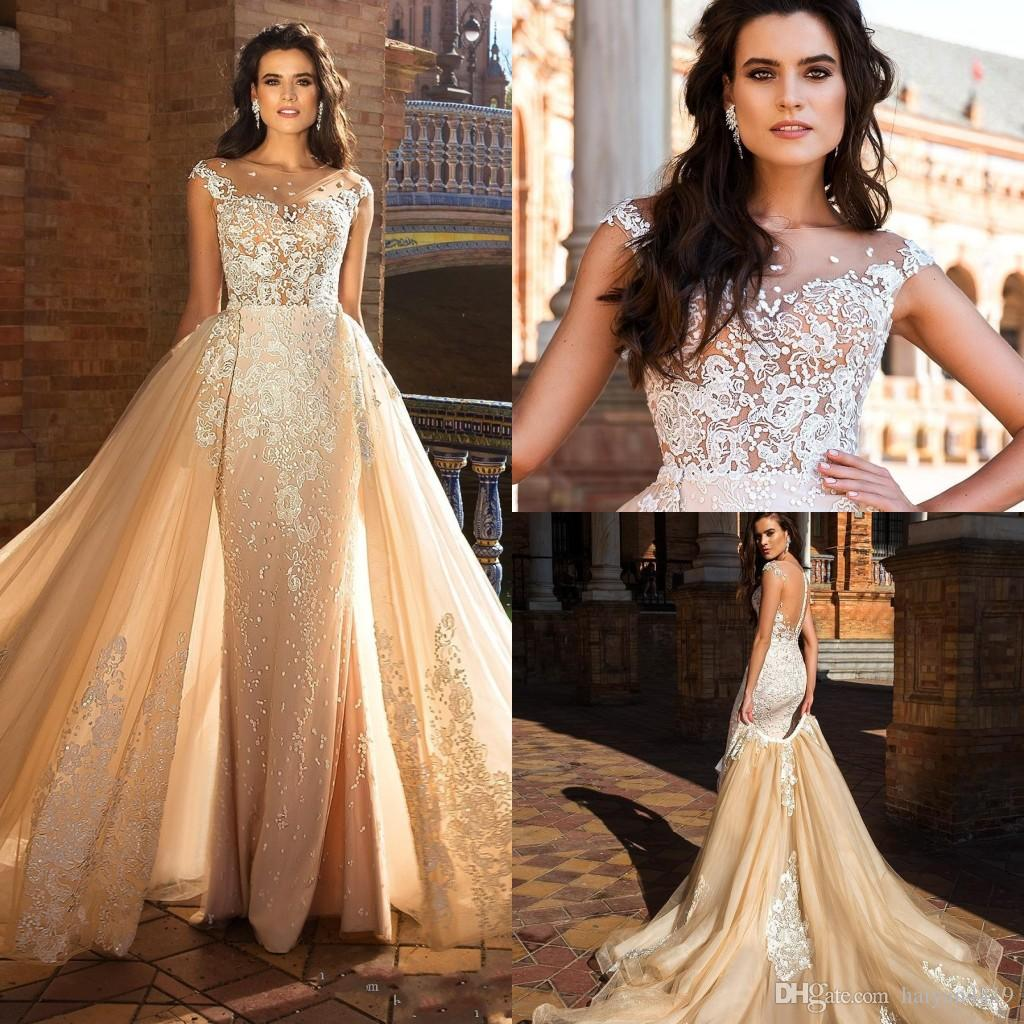 2017 Mermaid Wedding Dresses Sweetheart Full Lace Appliques Embroidered Beads Illusion Sheer Open Back Detachable Skirts Formal Bridal Gowns