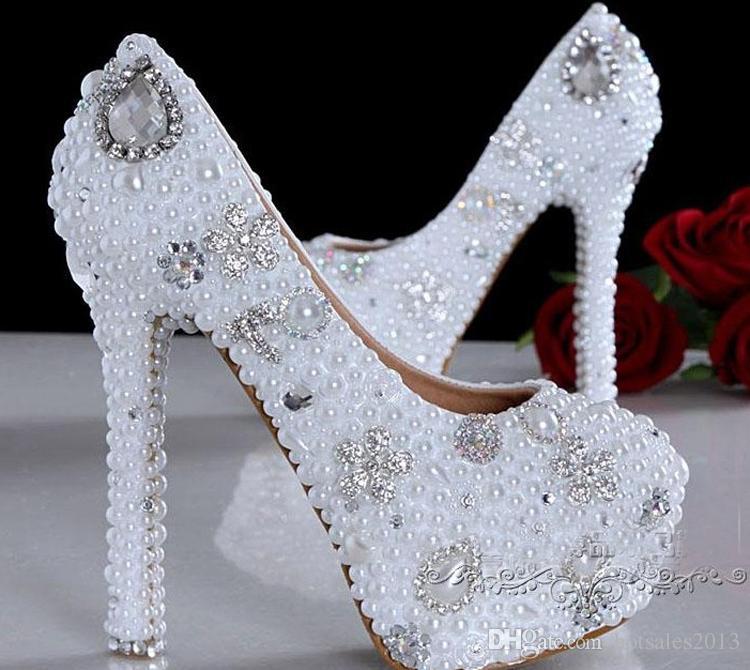 美しいスチレットヒールラウンドトゥウェディングシューズファッションホワイト模造真珠/ラインストーンブライダルドレスシューズレディースプロドレスポンプ