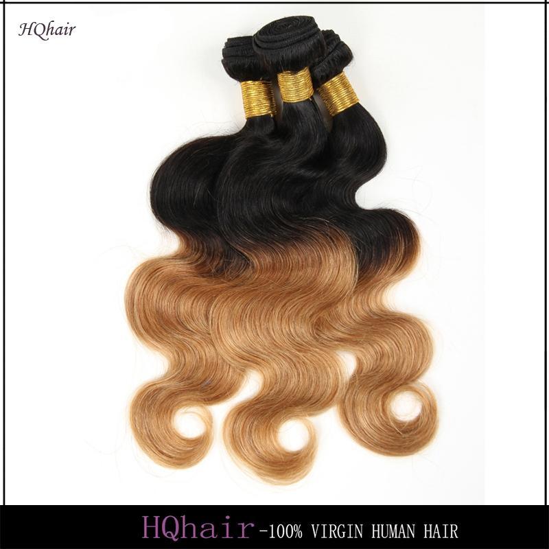1B/27# Ombre Hair Weaves Virgin Brazilian Body Wave Human Hair Weaves 3Pcs Remy Human Hair Bundles HQhair