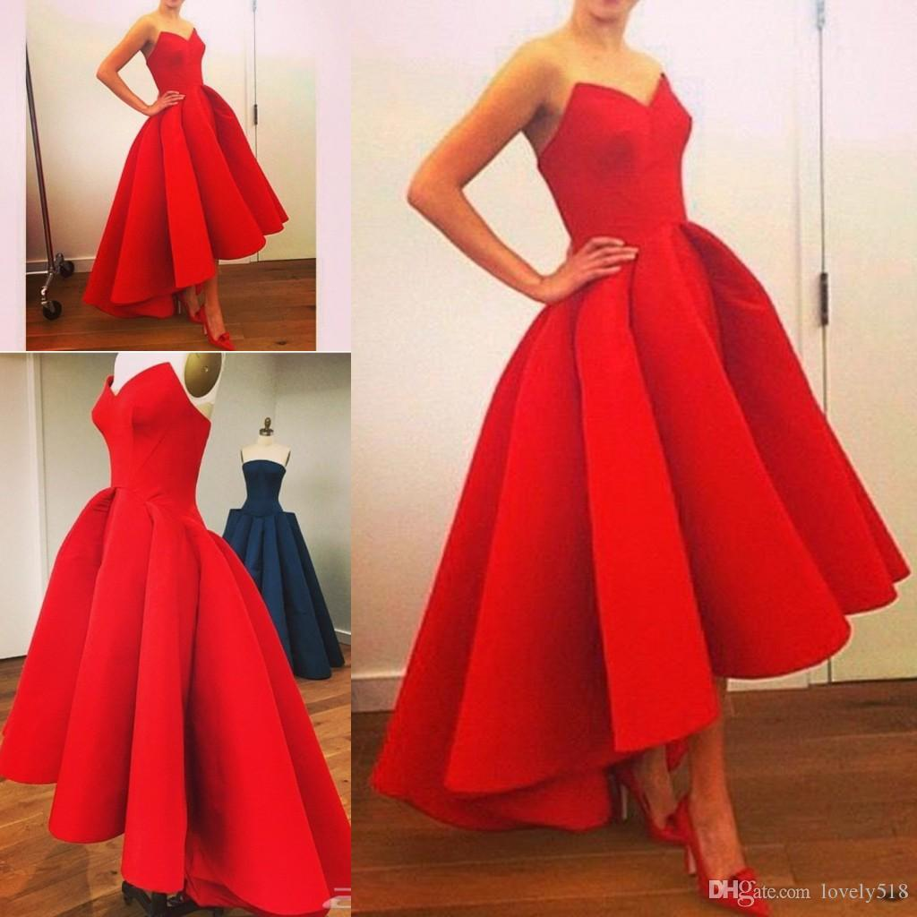 Hi Lo Red Evening Dresses Ball Gown 2016 Real Sample Sweetheart ...