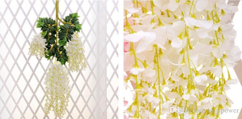 1.6 Metro Longo Elegante Flor De Seda Artificial Wisteria Vine Rattan Para O Casamento Centrais Decorações Bouquet Garland Início 2 tamanhos