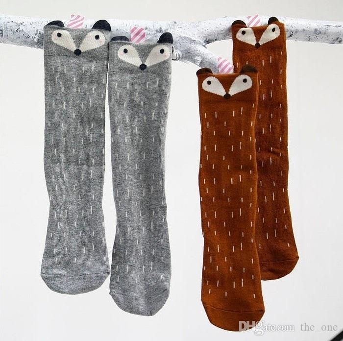 كارتون لطيف الأطفال طباعة الحيوان القطن الطفل الاطفال الجوارب الركبة عالية طويلة الثعلب الجوارب لل طفل فتاة totoro الجوارب الشتوية