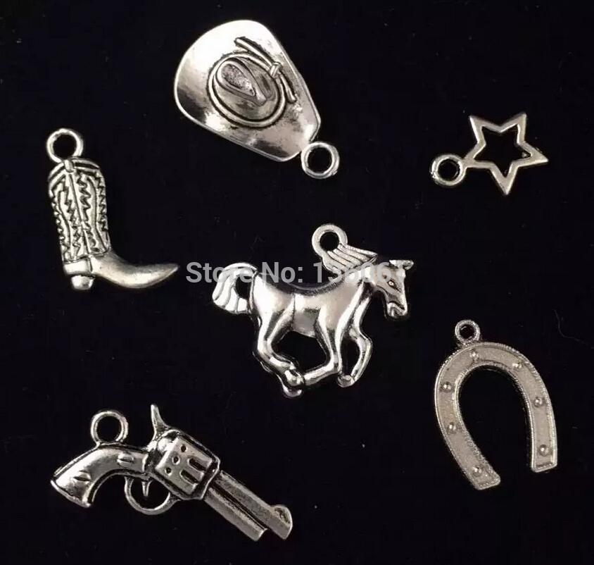Conjunto de Prata do vintage Chapéu de Vaqueiro Ferradura Cavalo Estrela Arma Liga Flutuante Medalhão Encantos Pingentes Para Pulseira Jóias Meninas Bijoux 200 PCS Q618