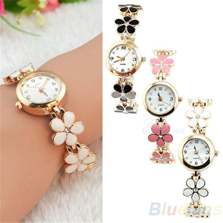 Women Girls Flower Watches Four Leaf Clover Rose Golden Bracelet Luxury Wrist Watch Metal Chain Wristwatches for Women Girls Fift