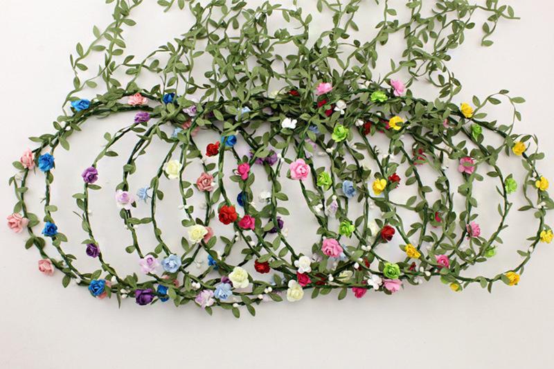 Fairy Leaves Rattan Wedding Garlands Bridesmaid Bridal Headband Flower Crown Bohemia Beach Head Flower Girl Hair Accessories