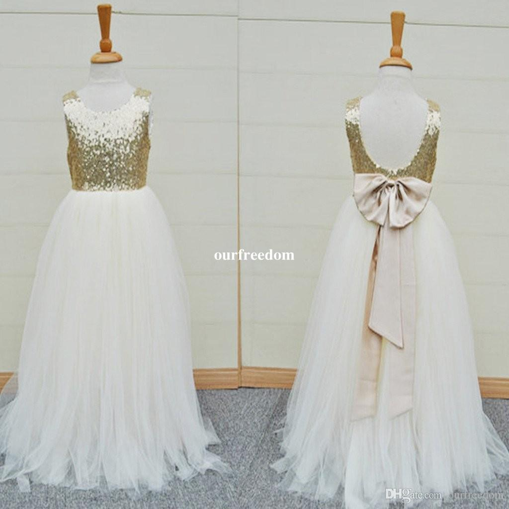 Gold Sequins White Tulle Flower Girls Dresses 2019 Cheap Real Image Back With Bow Kids Pageant Gown First Communion Dresses