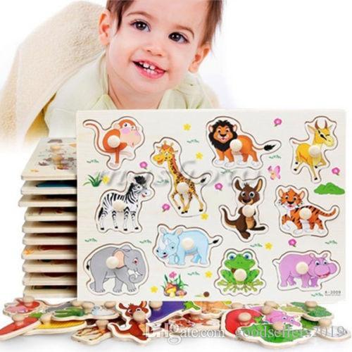2017 hot grande Jardim Zoológico Animais De Madeira Jigsaw Crianças Crianças Bebê Aprendizagem Educacional Puzzle Toy