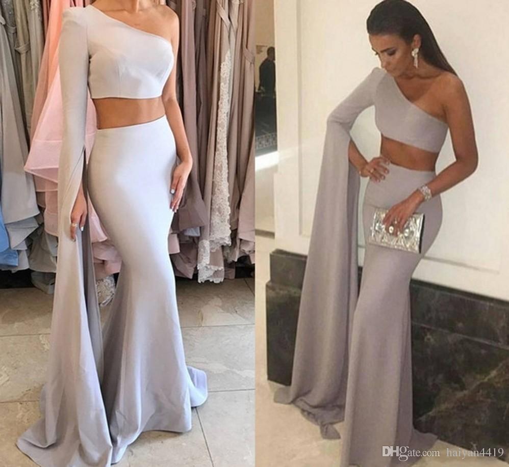 2018 새로운 섹시한 한 어깨 인어 긴 저녁 드레스 두 조각 새틴 지퍼 뒤로 공식적인 저녁 가운 파티 댄스 파티 드레스 가운 드 Soiree