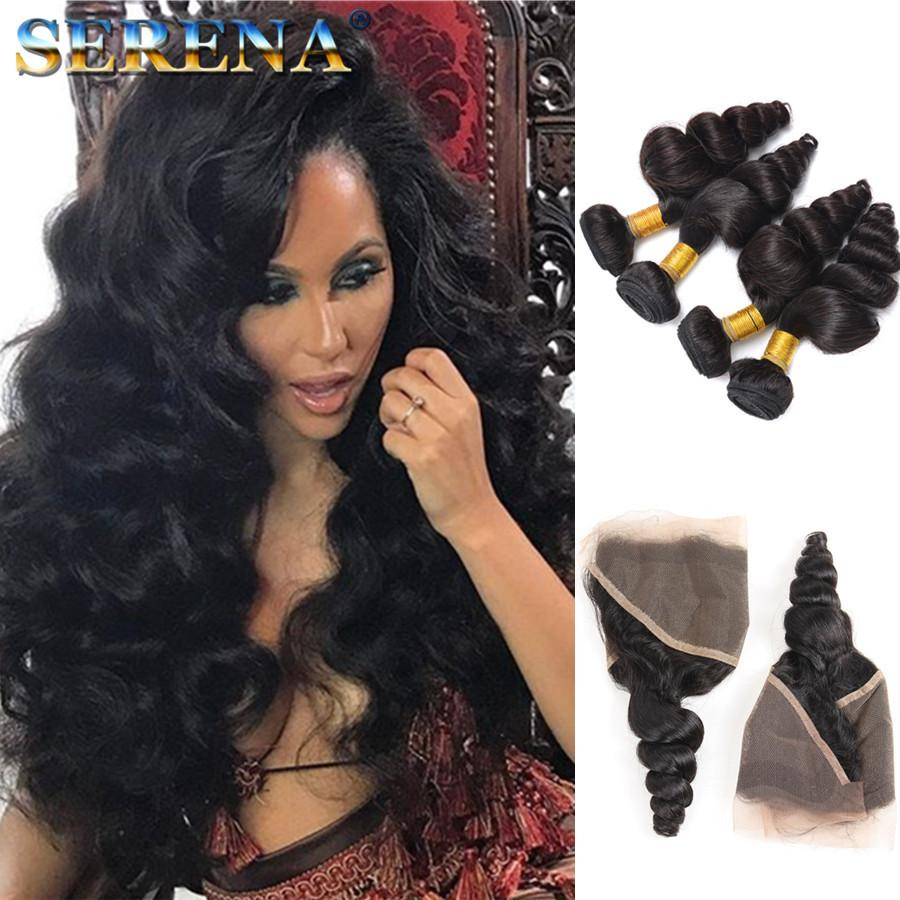 Ear to Ear Lace Frontal With 4 Bundles Brazilian Loose Wave Curly Virgin Malaysian Wavy Human Hair Weaves Closures Frontal With Bundles