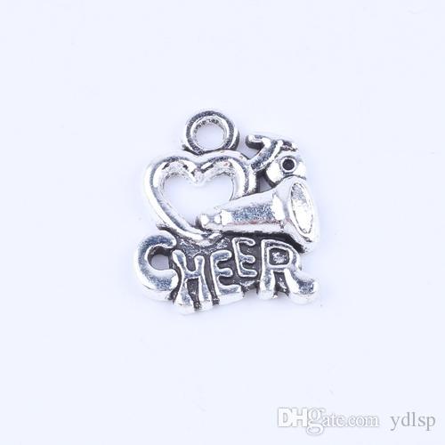 Hot Sale Heart & Cheer pendantRetro Silver/bronze alloy zinc DIY jewelry pendant fit Necklace or Bracelets charm 100pcs/lot 5285