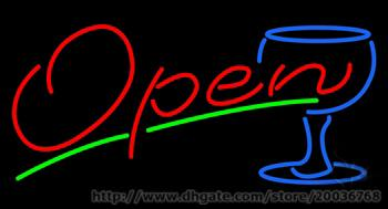 """Hot Open Wine Glass Neon Sign Art NEON Sign REAL GLASS SIGN BEER BAR PUB LIGHT SIGNS Store Display 17""""X14"""""""