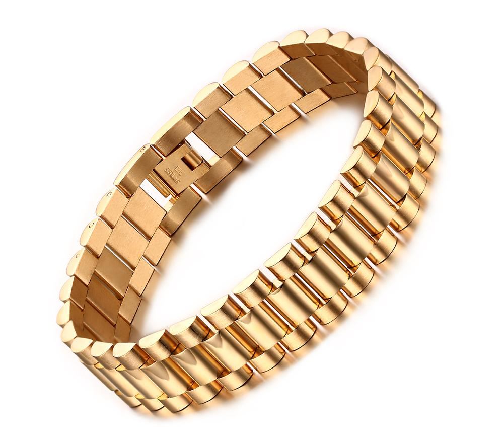 "8.7"" Men's Stainless Steel 15mm Gold Watch Band Link Chain Bracelet Classic"