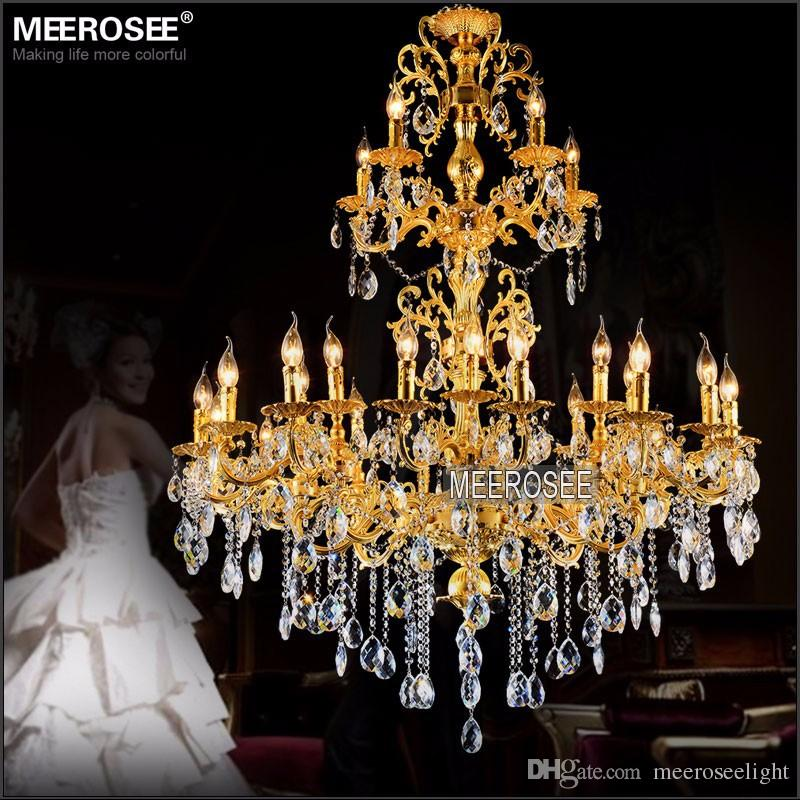 Luxurious Gold Large Crystal Chandelier Lamp Crystal Lustre Light Fixture 3 tiers 29 Arms Hotel Lamp MD3034 D1200mm H1450mm